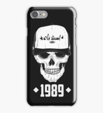 Skull with modern street style attributes. Vector illustration iPhone Case/Skin