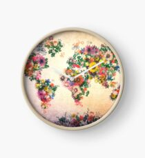 world map floral 4 Clock