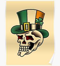 Traditional Irish Pride Skull Poster