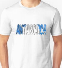 Antarctica Word With Flag Texture Unisex T-Shirt
