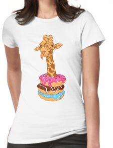 Donuts giraffe Womens Fitted T-Shirt