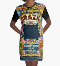 Rio Carnival Poster Thema Brasilien Carnaval Maske Show Parade T-Shirt Kleid