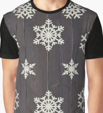 Snowflake Pattern on Wood (No Texture) Graphic T-Shirt