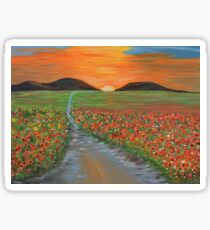 Blazing Sunset Poppy Field Wall Art original oil painting Sticker