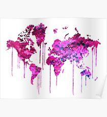 Purple WATERCOLOR MAP Poster