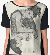 Egon Schiele - Zeichnungen I. 1917  Expressionism Woman Portrait Women's Chiffon Top