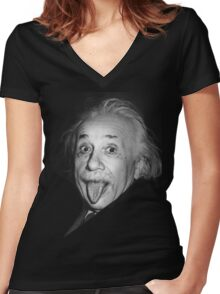 Albert Einstein Genius Tongue Funny Women's Fitted V-Neck T-Shirt