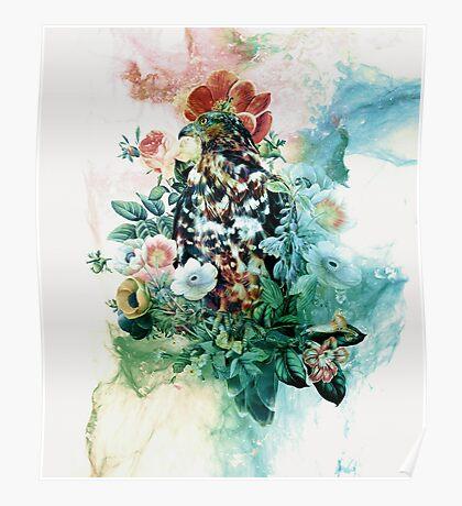 Bird in Flowers Poster