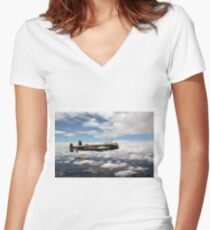 617 Squadron Tallboy Lancasters Women's Fitted V-Neck T-Shirt