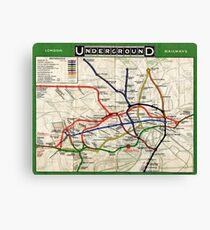 Map - London Underground Map - 1908 Canvas Print