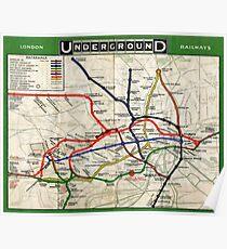 Map - London Underground Map - 1908 Poster