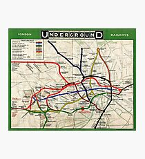 Map - London Underground Map - 1908 Photographic Print