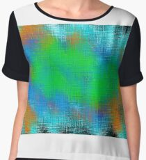 green blue and orange painting abstract  Women's Chiffon Top