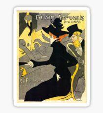 Toulouse Lautrec Divan  Japonais French music hall ad Sticker