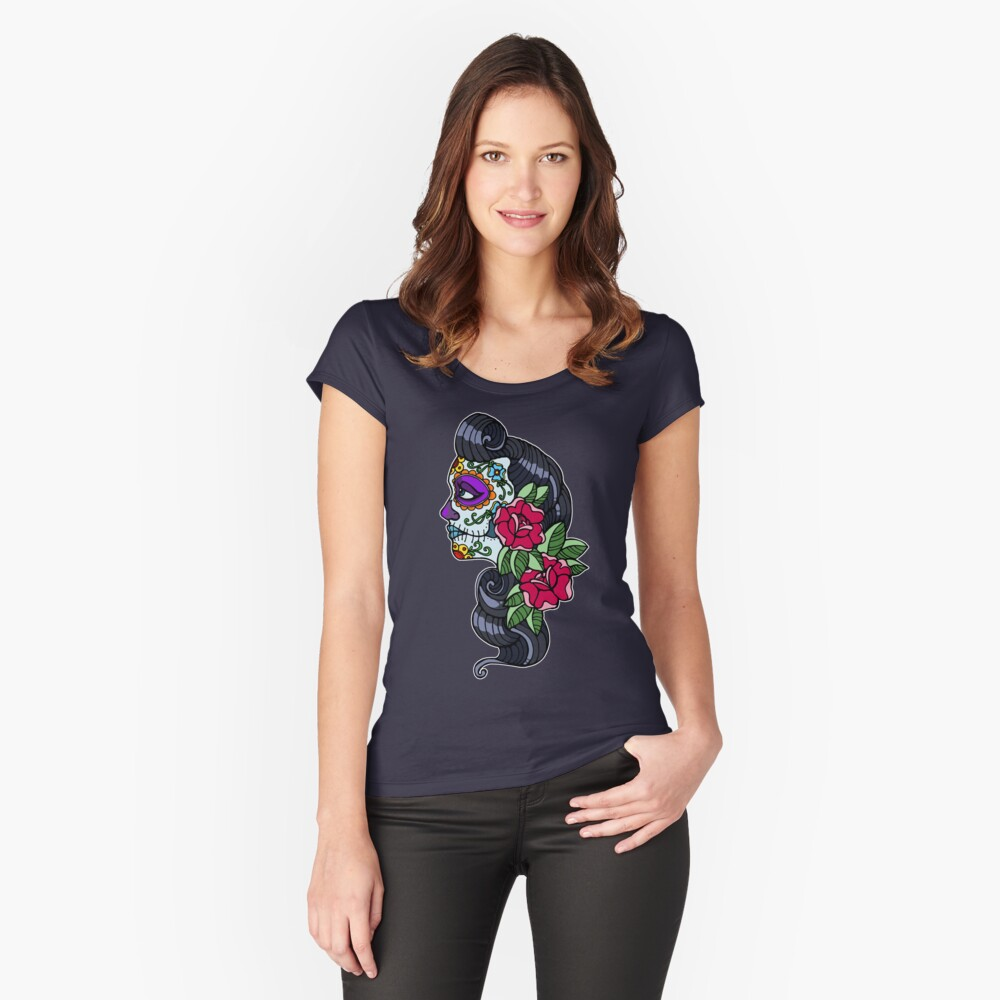 Day of The Dead Women's Fitted Scoop T-Shirt Front