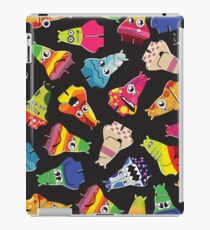 Cute monsters with different emotions on black iPad Case/Skin