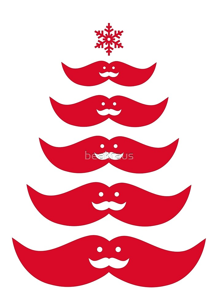 Red mustache Christmas tree design by beakraus