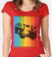 The old camera on rainbow background Women's Fitted Scoop T-Shirt