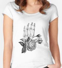 Floral Skeleton Hand Women's Fitted Scoop T-Shirt
