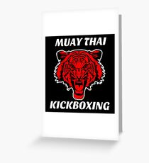 Muay thai kickboxing red tiger  Greeting Card