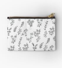 White Floral Pattern Studio Pouch