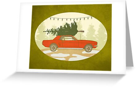Mustang Holiday Christmas Tree Farm Painting Greeting Cards By