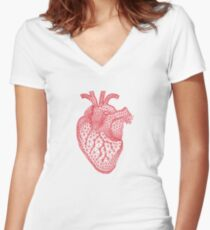 red human heart with geometric mesh pattern Women's Fitted V-Neck T-Shirt