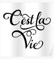"C'est la Vie, ""that's life"" French word art, text design Poster"