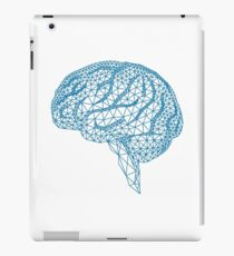 blue human brain with geometric mesh pattern iPad Case/Skin