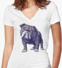 English Bulldog (Color Version) Women's Fitted V-Neck T-Shirt
