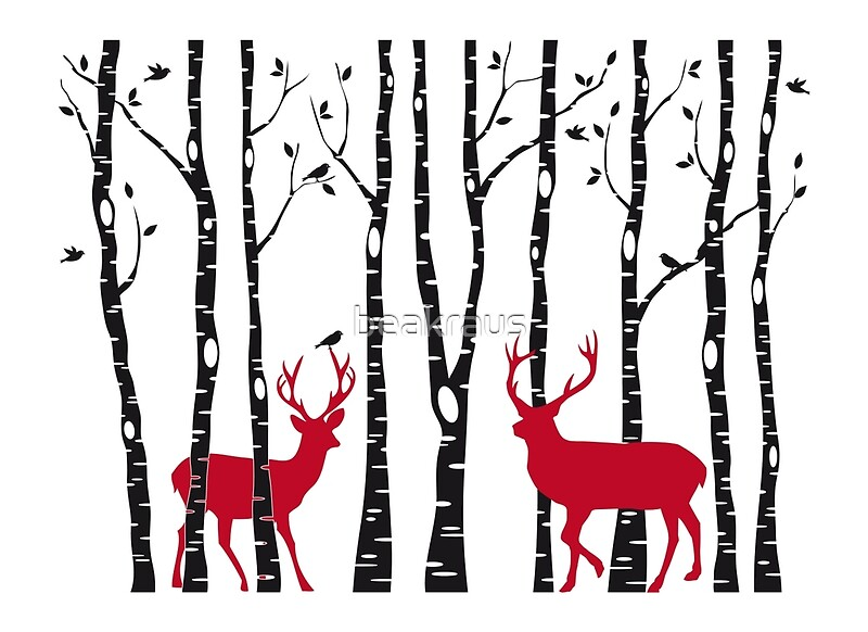 Christmas deers in birch tree forest Greeting Cards by beakraus