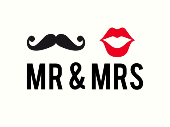 Quot Mr And Mrs Text Design With Mustache And Red Lips Quot Art