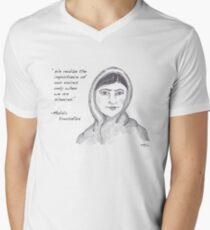 Malala Yousafzai - Voices (monochrome) Men's V-Neck T-Shirt