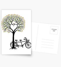 Heart wedding tree with birds and tandem bicycle  Postcards