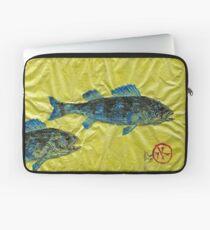 Gyotaku - Yellow Perch - Bluefish Laptop Sleeve