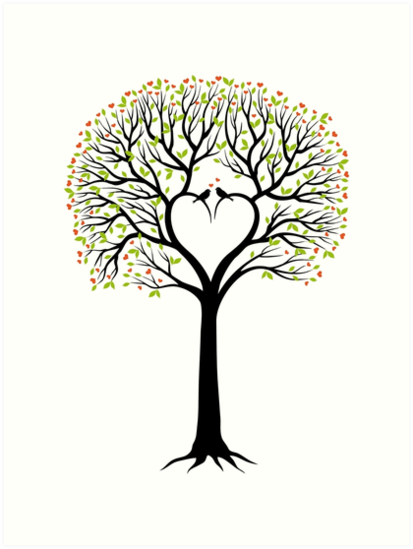 wedding tree with heart shaped branches and birds art prints by