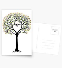 Wedding tree with heart shaped branches and birds Postcards