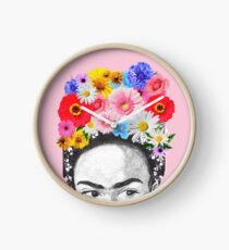 frida kahlo head flowers Clock