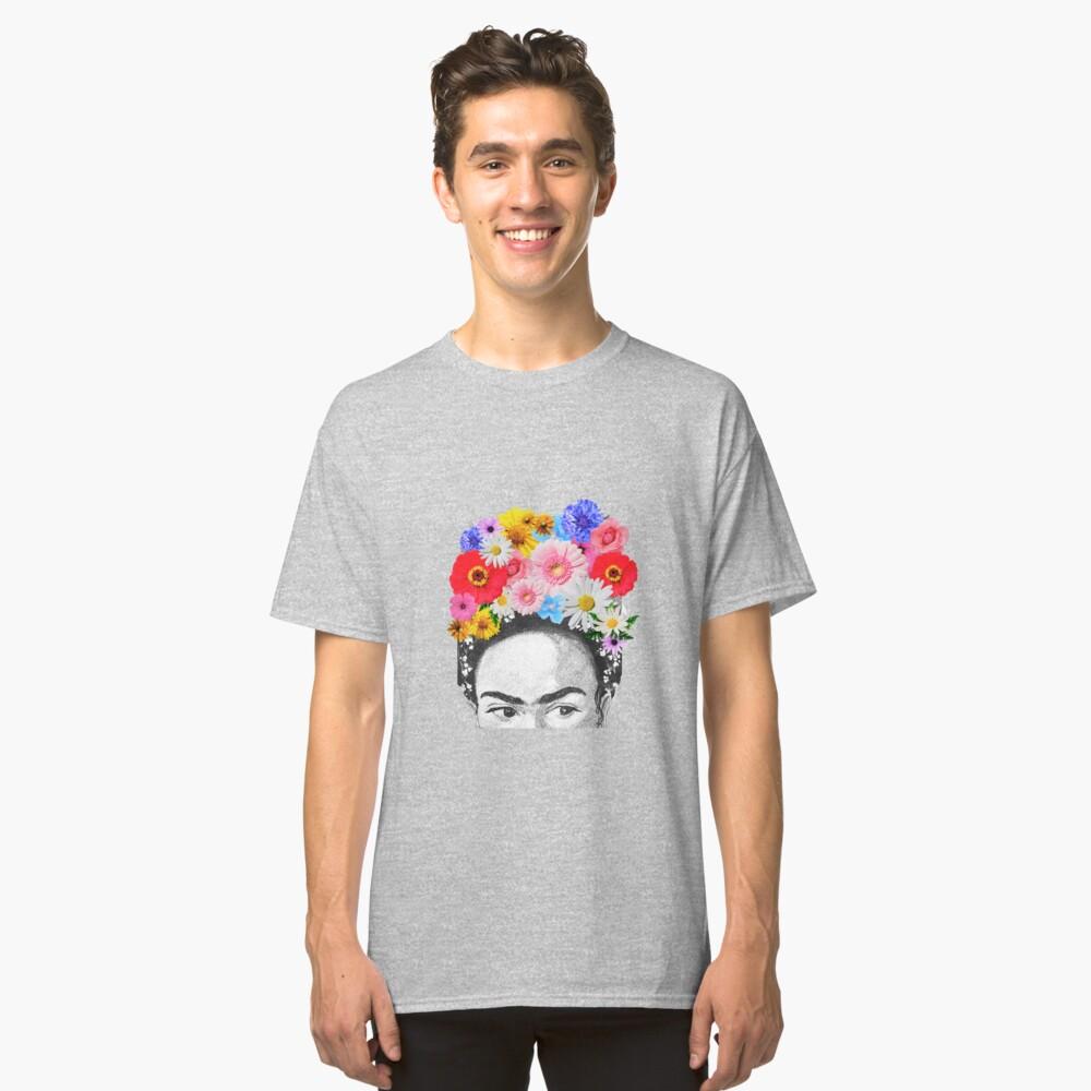 frida kahlo head flowers Classic T-Shirt Front