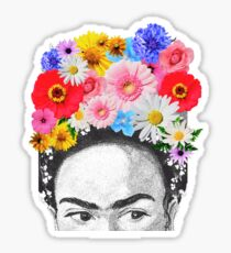 frida kahlo head flowers Sticker