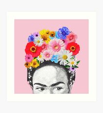 Frida Kahlo Kopf Blumen Kunstdruck