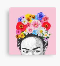 frida kahlo head flowers Canvas Print