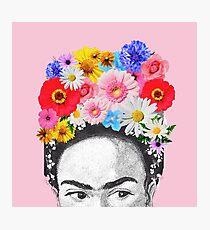 frida kahlo head flowers Photographic Print