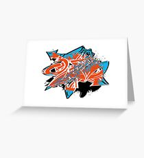 Colorful grunge distressed graffiti arrows Greeting Card