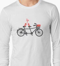 tandem bicycle with cute love birds Long Sleeve T-Shirt