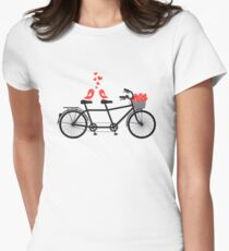tandem bicycle with cute love birds Women's Fitted T-Shirt