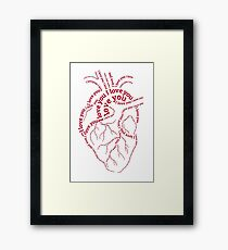 "Red human heart with text ""I love you"" Framed Print"