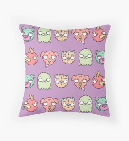 Animal Line Up Throw Pillow