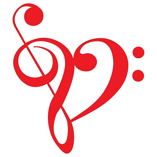 """""""I love music, red heart with music notes"""" Photographic ..."""