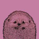 purple hedgehog close up by Bronia Sawyer